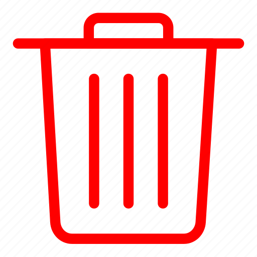 bin, delete, garbage, recycle, recycle bin, red, remove icon