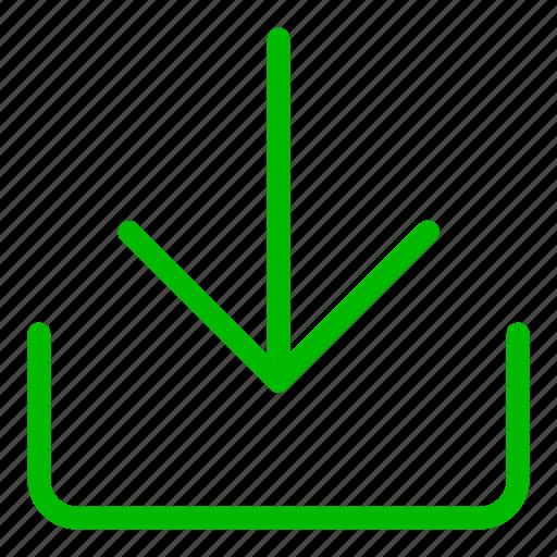 arrow, cloud, down, download, green, guardar, save icon