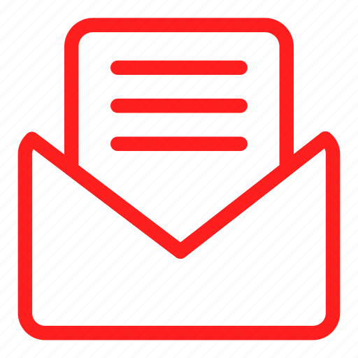 email, envelope, letter, mail, message, red, sms icon