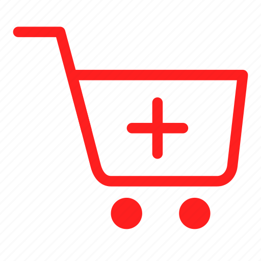 add cart, basket, cart, payment, red, sale, shopping icon