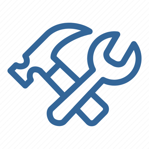 blue, configuration, gear, hammer, preferences, repair icon