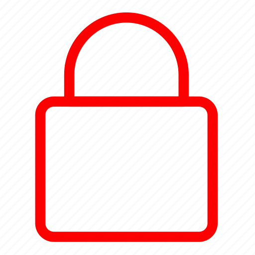 key, lock, password, protection, red, safety, secure icon