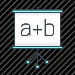 courses, exercise, flipchart, formula, training icon