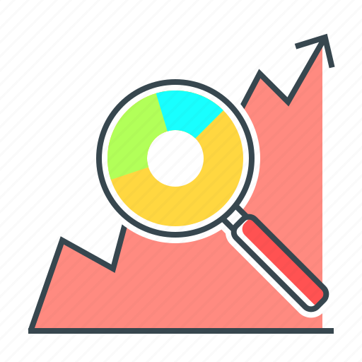 analysis, business, diagram, graph, magnifier, search, seo icon