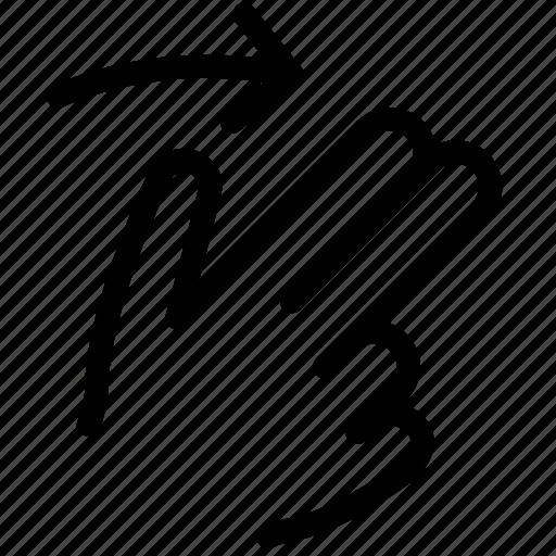 finger, gesture, hand, move, right, swipe icon