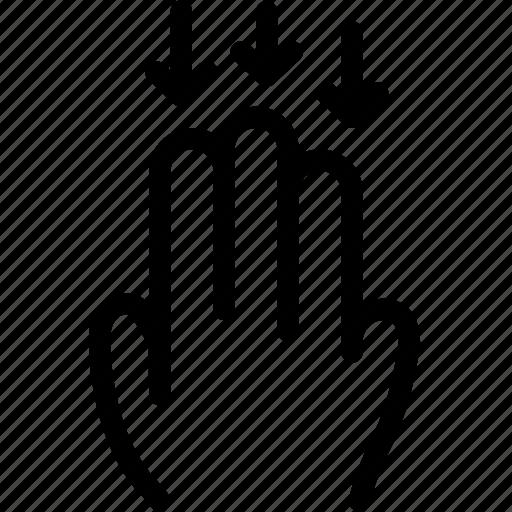 down, fingers, gesture, hand, scroll, swipe icon