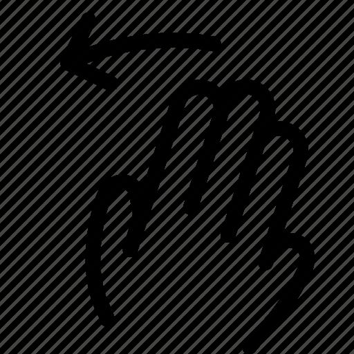 fingers, gesture, hand, left, move, swipe icon