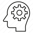 cog, gear, head, human, idea, mind, think icon