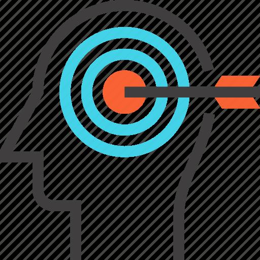 goal, head, human, mind, success, target, thinking icon