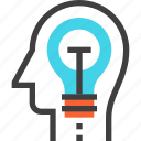bulb, head, human, idea, imagination, light, mind icon