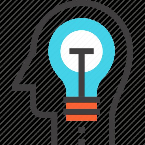 bulb, head, human, idea, imagination, light, mind icon
