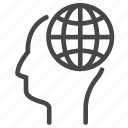 brain, creative, globe, thinking, thoughts icon