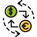 dollar, euro, exchange, finance, money, rate icon