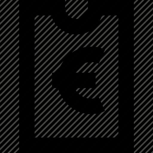 bill, euro, invoice, voucher icon