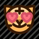 animal, animals, avatar, emoji, face, love, tiger icon