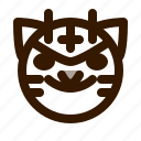 animal, animals, avatar, devil, emoji, face, tiger icon