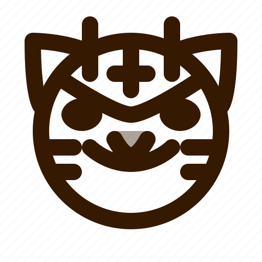 animal, animals, avatar, devil, emoji, face, tiger icon