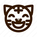 animal, animals, avatar, emoji, face, glad, tiger icon