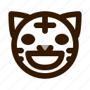 animal, animals, avatar, emoji, face, grin, tiger icon