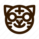 animal, animals, avatar, emoji, face, nerd, tiger icon