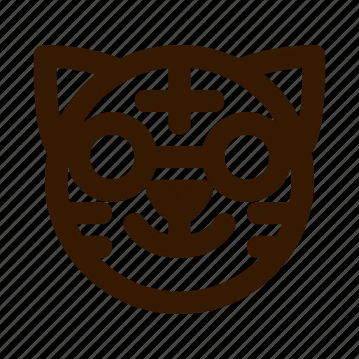 animal, animals, avatar, emoji, face, nerd, tiger icon