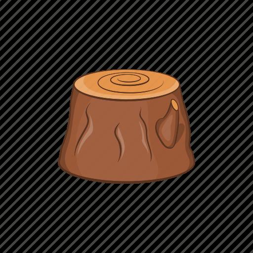 cartoon, forest, lumber, stump, timber, tree, wood icon