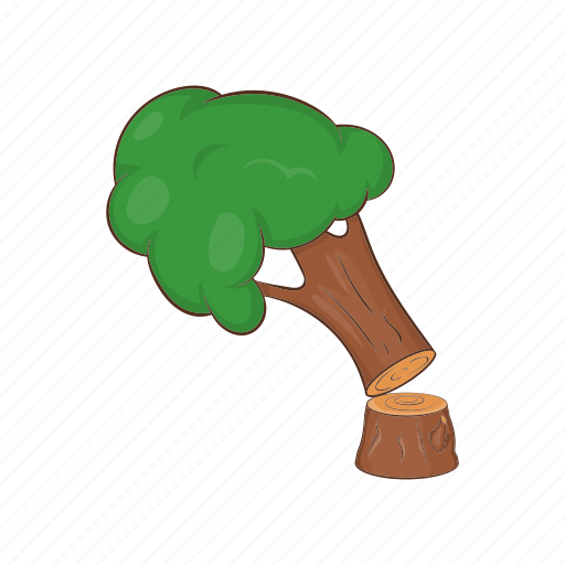 Cartoon, felled, forest, lumber, timber, tree, wood icon - Download on Iconfinder