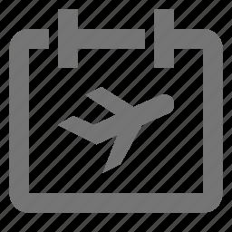 airplane, appointment, calendar, date, plan, plane, reminder, schedule icon