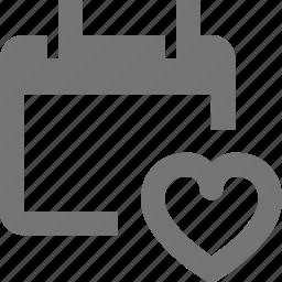 calendar, date, favorite, heart, like icon