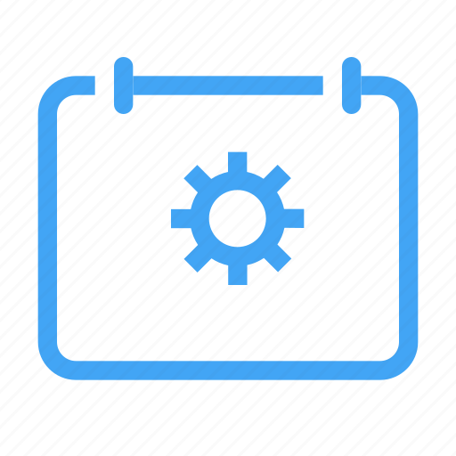 calender, configuration, date, gear, preferences, schedule, settings icon