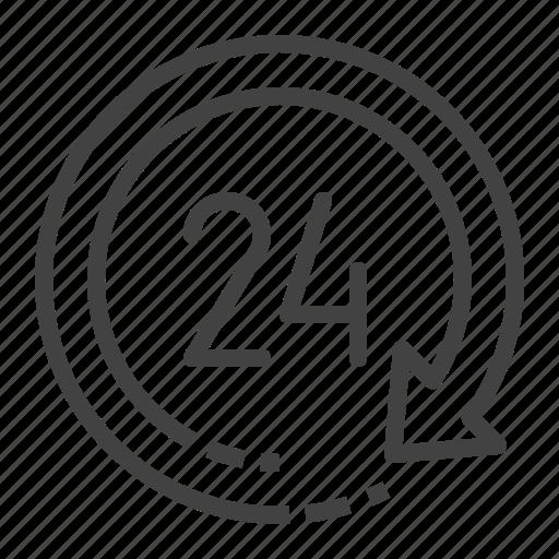 24hr, around, clock, the, time icon