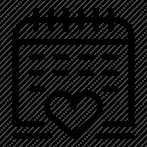Calendar, date, heart, love, schedule icon - Download on Iconfinder