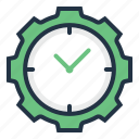 clock, gear, setting, time, timer, watch icon