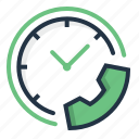 call, clock, communication, service, telephone, time icon