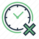 cancel, clock, cross, disallowed, error, time icon