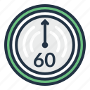 chronometer, clock, minute, sixty, stopwatch, timer icon