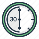 chronometer, clock, minute, stopwatch, thirty, timer icon