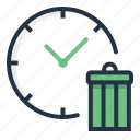 clock, delete, garbage, schedule, time, trash icon