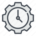 clock, countdown, gear, settings, time, watch icon