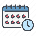 calendar, clock, date, planner, time, watch icon