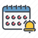 bell, calendar, date, notification, planner, reminder icon