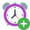 add, alarm, alert, clock, plus, schedule, timer icon