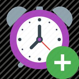 add, alarm, alert, clock, plus, schedule, timer icon