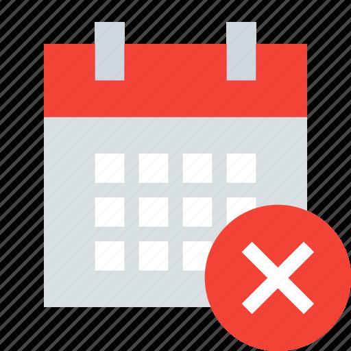 calendar, date, delete, event, remove, schedule icon