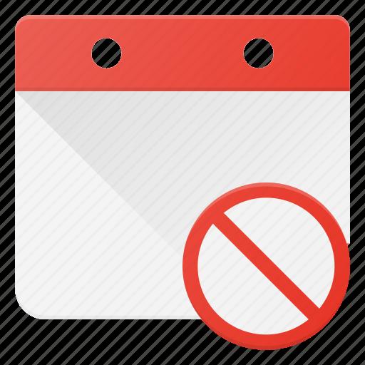 calendar, cancel, delete, event, time icon