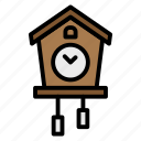 alarm, birdhouse, clock, time, vintage icon