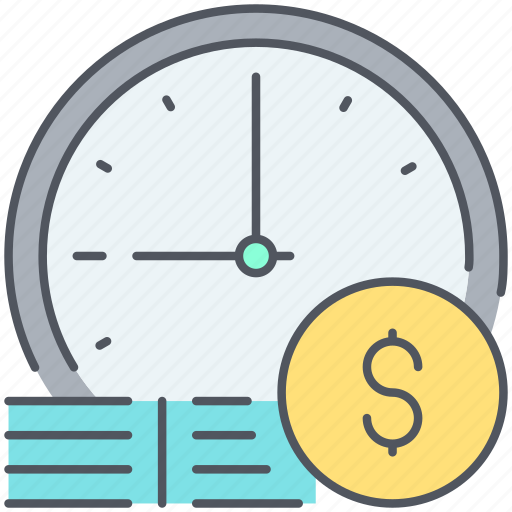 cash, clock, deadline, end, finish, money, time icon
