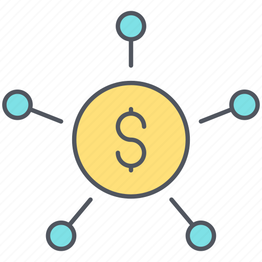 banking, coin, distribution, finance, mass, payment, share icon