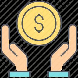 banking, deposit, finance, loan, money, salary, take icon