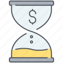 deadline, end, finance, finish, money, sandclock, time icon